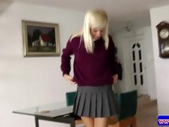 excited legal age teenager in uniform masturbating