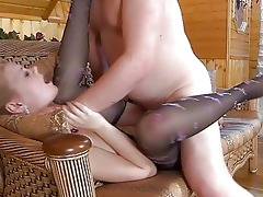 young golden-haired in pantyhose receives slammed